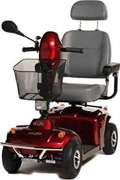 An All Terrain Mayfair Class 2 Mobility Scooter in red with a front and rear bumper, large comfortable captains seat, rear view mirror, large front basket, lights and indicators