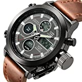 Tamlee Fashion Leather Men's Military Watches Multifunctional Digital Watch Men Sports Watch Rating