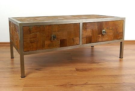 Couchtisch aus Metall und Teakholz   Sofatisch im Industrial Design   Asiatische Möbel der Marke Asia Wohnstudio   Couchtisch aus Massivholz   Designer Tisch aus Java   Teakholzmöbel (Handarbeit)