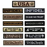 Bundle 13 Pieces Great Value Tactical Morale Patch Full Embroidery Military Patches Set for Caps,Bags,Backpacks,Tactical Vests,Military Uniforms Etc. (Color: 13 Pack Military)