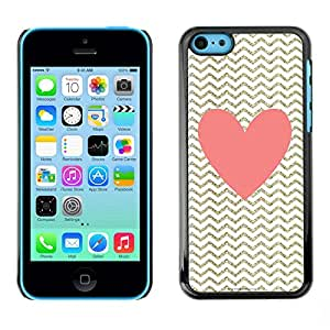 Omega Covers - Snap on Hard Back Case Cover Shell FOR Apple iPhone 5C - Heart Pink Gold Classy Chique