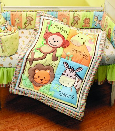 Summer Infant 4 Piece Monkey Jungle Collection Crib Set, Neutral image