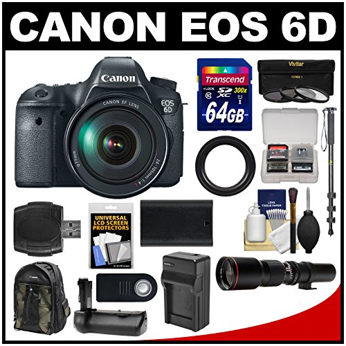Canon Eos 6D Digital Slr Camera Body With Ef 24-105Mm L Is Usm Lens With 500Mm Telephoto Lens + 64Gb Card + Backpack + Battery & Charger + Grip + Monopod Kit