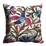 MeSleep Digitally Printed Bird Micro Fabric Cushion Cover - Blue