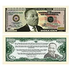 [Best price] Novelty & Gag Toys - SET OF 10-Martin Luther King Jr Collectible Novelty Million Dollar Bills - toys-games