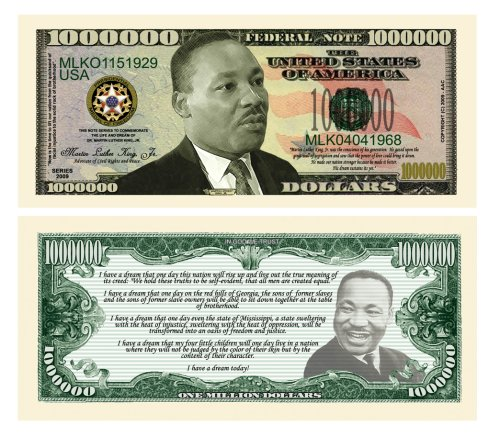 SET OF 10-Martin Luther King Jr Collectible Novelty Million Dollar Bills by Novelties Wholesale - 1