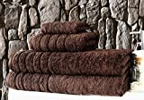 Barnum 4 Pc 700 Gsm Turkish Combed Cotton Family Towel Set with Bath Towels (Chocolate)