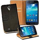 OneFlow PREMIUM - Book-Style Case im Portemonnaie Design mit Stand-Funktion - für Samsung Galaxy S4 mini (GT-i9195) - SCHWARZ