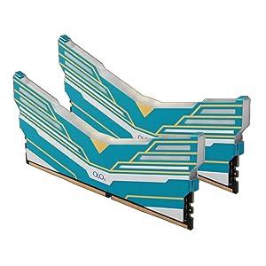 OLOy DDR4 RAM 64GB (2x32GB) Warhawk Aura Sync RGB 3000 MHz CL16 1.35V 288-Pin Desktop Gaming UDIMM (MD4U323016DDDA) (Color: Blue, Tamaño: 32GBx2)