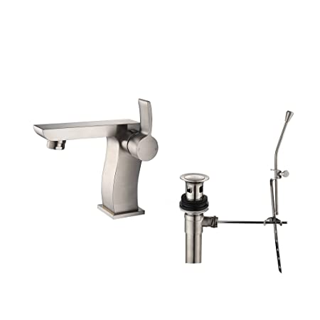 Kraus KEF-14601-PU16BN Sonus Single Lever Basin Bathroom Faucet and Pop Up Drain with Overflow Brushed Nickel