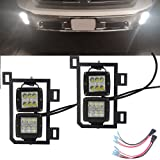 4x 3 inch 18W LED Fog Light Pods with Plug Wiring Kit & Front Lower Hidden Bumper Mounting Bracket for 2013-2018 Dodge Ram 1500 Classic
