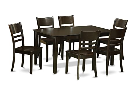 East West Furniture CALY7-CAP-W 7-Piece Dining Table Set