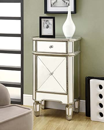 Amazon.com - Monarch Specialties 1-Drawer Accent Cabinet, Mirrored - Mirrored Nightstands