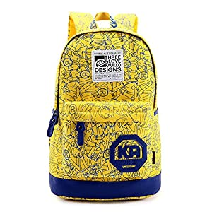 High School Student Middle-school Students' Schoolbag Canvas Backpack Shoulders Bag Knapsack Packsack Rucksack Unisex Preppy Style Korean Travelling Bag Travel Bags Handbag Laptop Bag (Yellow)