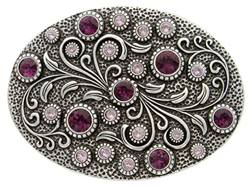 Antique Silver Oval Engraved Belt Buckle With Swarovski Light & Dark Amethyst Crystal