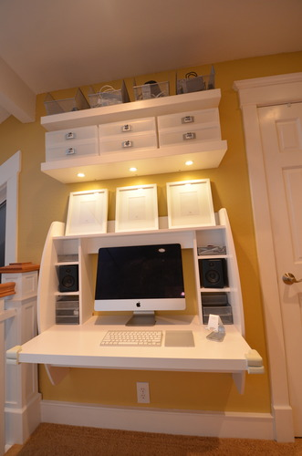 amazon com prepac white floating desk with storage