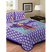SHREE RAM IMPEX Rajasthani Exclusive Sanganeri Screen Print Design Mayur Lady Print Purple Bedsheet