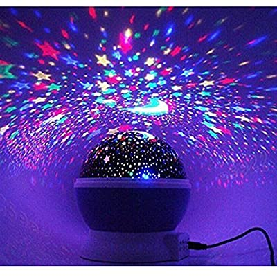 kokome 360 Degree Romantic Room Sky Projector Bedside Lamp Rotation Light Night Star Projector for Babies and Kids Bedroom Gift