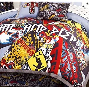 "Skateboard ""Skate & Destroy"" Twin Comforter & Sheet Set"