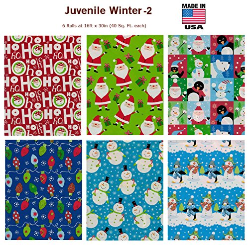 Premium Christmas Gift Wrap Juvenile Wrapping Paper Bulk for Men, Women, Boys, Girls, Kids 6 Different 16 Ft X 30 in Rolls Included Xmas Santa, Snowman, Snowflake (Design 2)