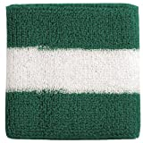 Striped Cotton Terry Cloth Moisture Wicking Wrist Band (Kelly Green/White)
