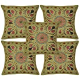 Heavy Zari Embroidered Home Furnishing Cotton Pillow Covers 16 Inches 5 Pcs