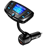 VicTsing Bluetooth FM transmitter for Car, QC3.0 Car Wireless Radio Transmitter Adapter, Power Off with Large Display, Hands-Free Calls, Music Playing via Bluetooth, U Disk and TF Card, Dual USB Ports (Color: Black)