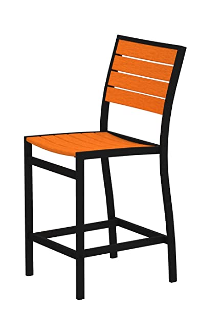 POLYWOOD A101FABTA Euro Counter Side Chair, Textured Black/Tangerine