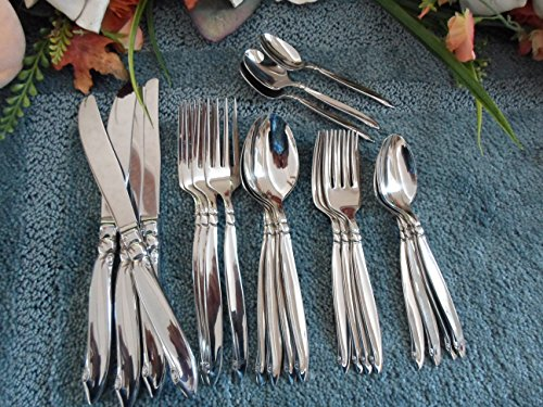 Oneida RogersPremier Vintage Stainless Flatware USA 18/8 Glossy SHORELINE FIREBIRD 23pcs 4 Place Settings UNUSED