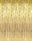 3 x 8 Gold Tinsel Foil Fringe Door Window Curtain Party Decoration
