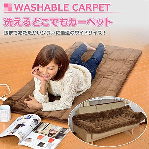 山善(YAMAZEN) 洗えるどこでもカーペット(幅80×長さ180cm) YWC-181F(T)ブラウン
