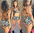 Womens Sexy Floral Sports Bikini Bathing Swimwear Two Piece