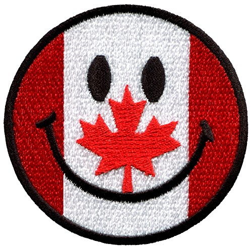 Smiley face Canadian flag maple leaf Canada boho 70's retro smile fun embroidered applique iron-on patch new (Canada Fun compare prices)