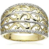 10k Yellow Gold Filigree Diamond Ring (1/10 cttw, I-J Color, I2-3 Clarity)