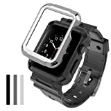 Simpeak Case with Band for Apple Watch 3, [3 Packs Cover] Flexible Protective Case Cover with One Black Strap Bands for 42mm Apple Watch Series 1/2/3, Sport, Edition, Black/Grey/Silver (Color: Black/Grey/Silver-42MM, Tamaño: 42 mm)
