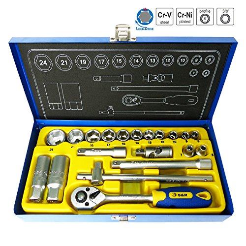SR-Steckschlsselsatz-20-tlg38-in-Metallbox-Knarrenkasten-38-Zoll-mit-Lock-Drive-Profil-Werkzeugkasten-Ratschenkasten-Profi-Qualitt