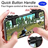 Mobile Game Controller, weini Cell Phone Game Controller Sensitive Shoot and Aim Buttons L1R1 Trigger Buttons for PUBG/Knives Out/Rules of Survival Support Android and iOS(1 Pair) (Color: Black)
