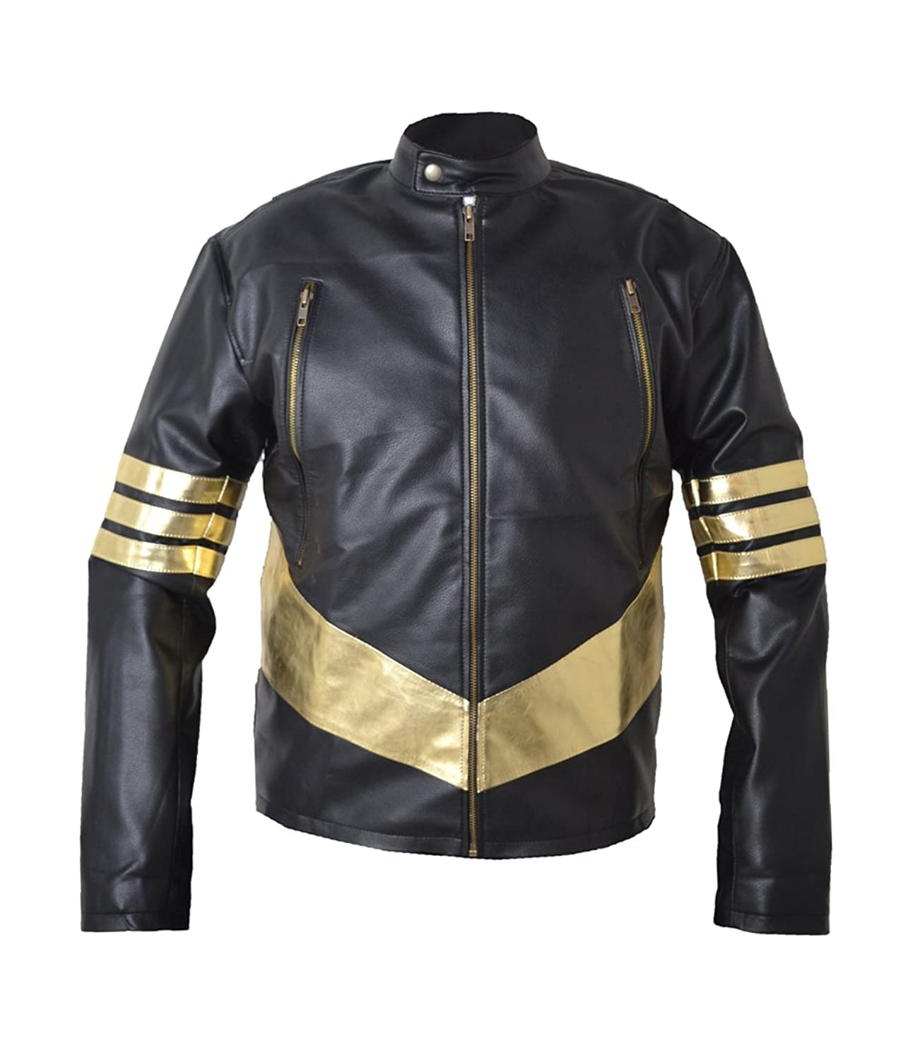 Xmen Wolverine Jackman Golden Stripes Real Sheep Leather Jacket