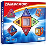 Magmagic Building Block Magnetic Toys, 15 Piece Supply Sets (6 Squares, 9 Triangles), Preschool Skills Educational...