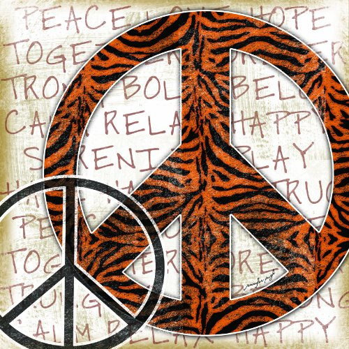 The Kids Room by Stupell Tiger Striped Peace Sign Typography Background Square Wall Plaque