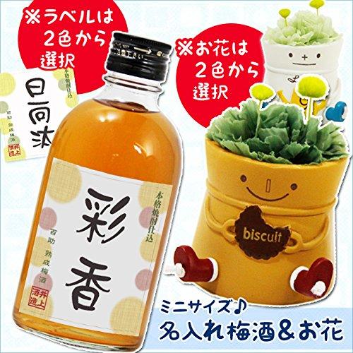 名入れ【百助梅酒 水玉ラベル】&お花【ロボ花器】 (オレンジラベル, ホワイト花器(包装付))