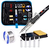 [Upgrade Version] Soldering Iron Kit for Repairing Electronic Tools, Ockered 18-in-1 60w Adjustable Temperature Soldering Iron with ON/OFF Switch, Soldering Iron Tips, Desoldering Pump, Tweezers