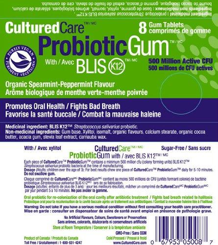 Oral Probiotic Blis-K12 Gum, Organic Spearmint-Peppermint
