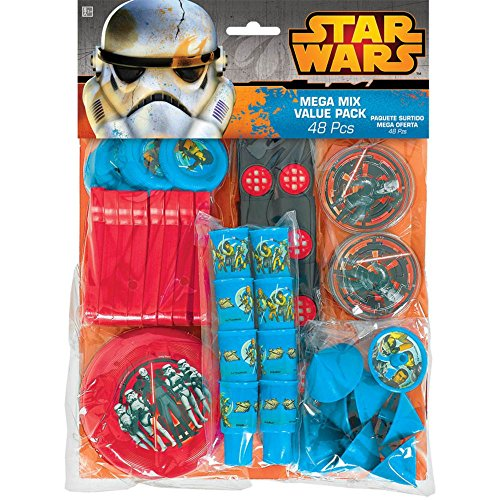 Amscan Cool Star Wars Rebels Mega Mix Value Pack (48 Piece), Blue/Red/Black