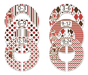 #104 Sock Monkey Boy Baby Closet Dividers Clothes Organizers Set of 6