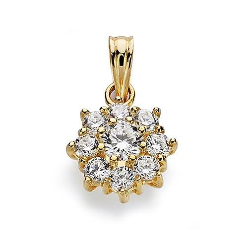 18k gold pendant zircons rennet 13mm. [AA0648]