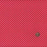 "Red mini Polka Dot (Dot) French Fabric Cotton 140CM / 55"" Wide. Per Half Metre"