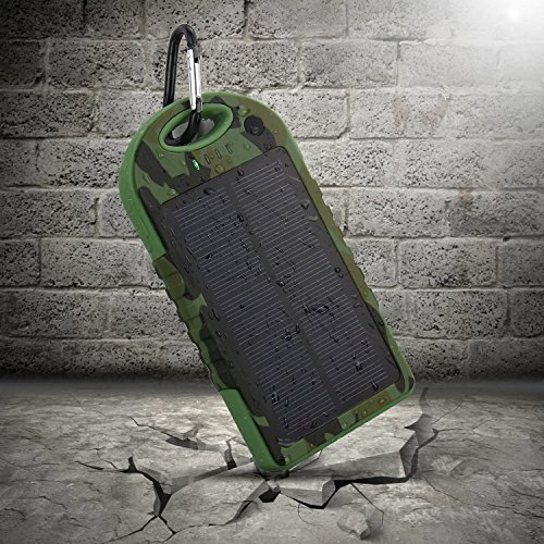 JJF Bird TM Solar Panel Charger 5000mah Rain-resistant Waterproof Shockproof Portable Dual USB Port Portable Charger Backup External Battery Power Pack for Iphone 6 4 4s 5 5sipod, Ipad Ipad Mini Retina(apple Adapters Not Included), Samsung Galaxy Note 2, Note 3, S2 S3, S4, S5, Blackberry Z30, Z10, Q10, Q5, Asus Nexus 4, 5, 7, 10, HTC One V, X, M8, M7, Mini, Max, Motorola Moto G, X, E, Droid, Lg G2, G3, Sony Xperia, Nokia Lumia, Icon, 521, 520, 920, 1020, 1520 Most Android/windows Smart Cell Phones, Gps, Tablets, and Other Usb-charged Devices, Etc. (5000-camouflage)