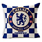 E-sunshinexAE Thick Cotton Blend Linen Square Throw Pillow Cover Decorative Cushion Case Pillow Case 18 X 18 Inches / 45 X 45 cm, New Football Club Badge (Chelsea)