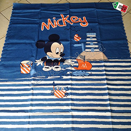 """Disney - Copriletto Cotone Picquet Lettino Baby Bimbo """"Miky Topolino"""" - Made in Italy, BLU AZZURRO"""